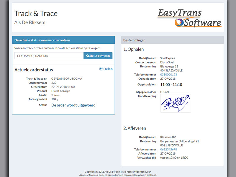 Track en Trace met Transport Management Systeem EasyTrans
