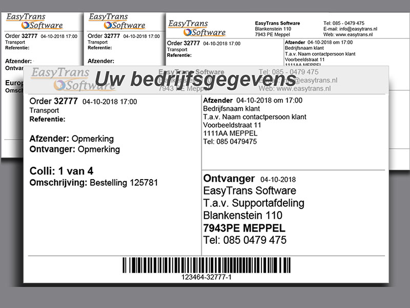 Verzendlabels TMS software EasyTrans