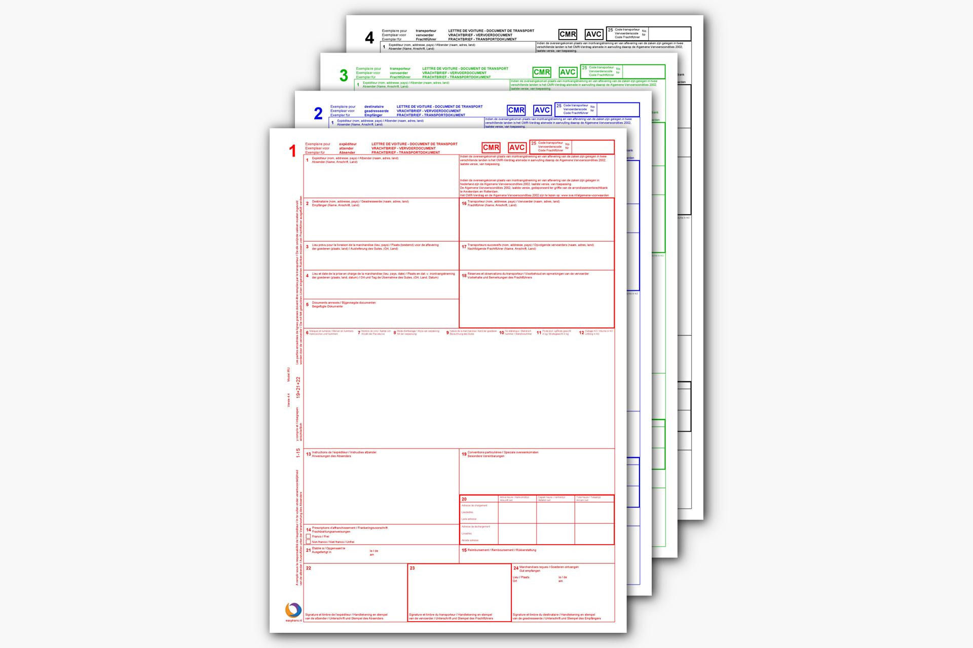 Volledige CMR afdrukken - EasyTrans Software
