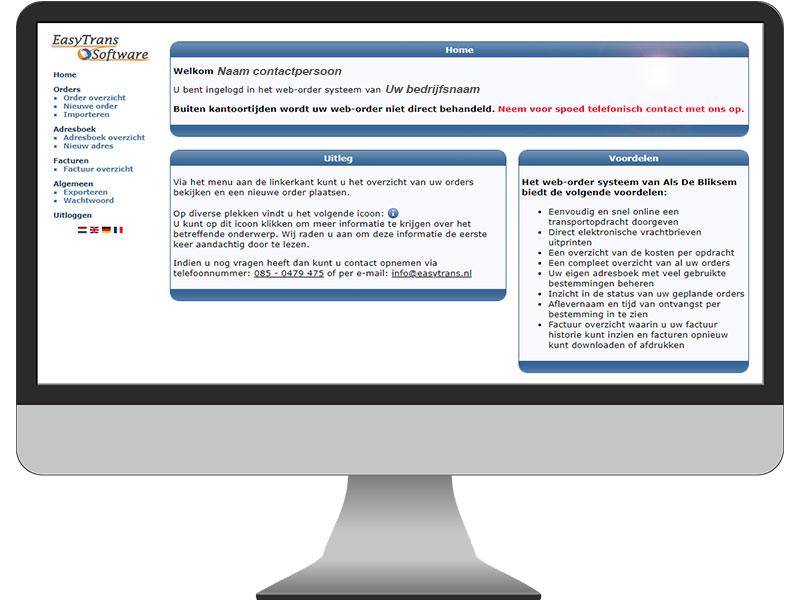Klantenportaal TMS software EasyTrans