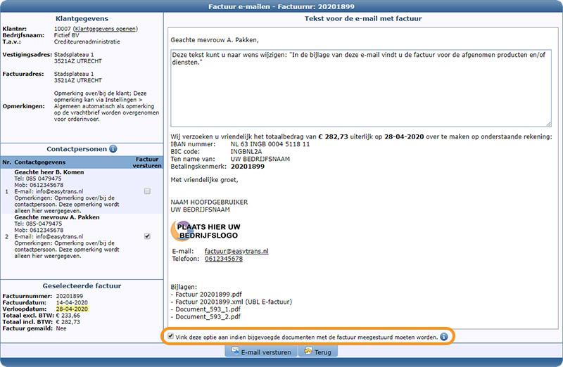 Documentopslag module - Document meesturen met factuur